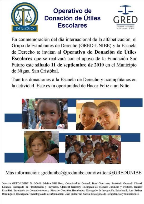 Operativo de Donación de Útiles Escolares